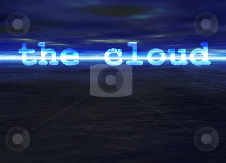 The Cloud Text on Stunning Blue Bright Ocean Sea Horizon at Nigh stock photo, The Cloud Text on Stunning Blue Bright Ocean Sea Horizon at Night by Robert Davies