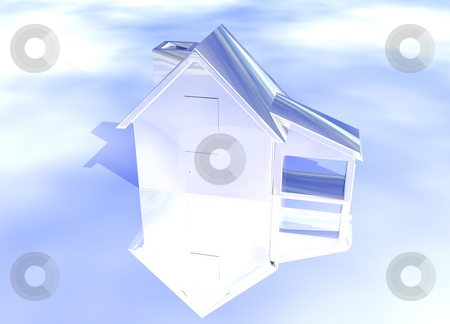 Silver Shiny House Model stock photo, Silver Shiny House Model on Blue-Sky Background with Reflection Concept Second Place Award by Robert Davies