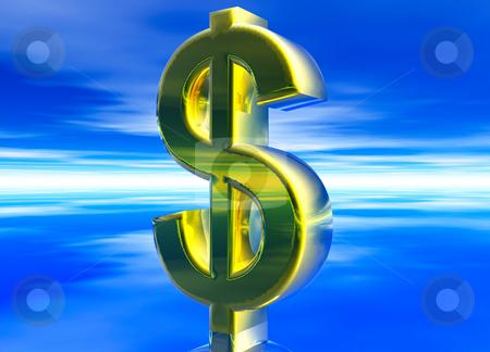 Gold USD Dollar Currency Symbol stock photo, Gold USD Dollar Currency Symbol on Blue Background by Robert Davies