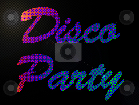 Psychadelic LED Lights Disco Party Sign Text stock photo, Psychadelic LED Lights Disco Party Sign Text by Robert Davies