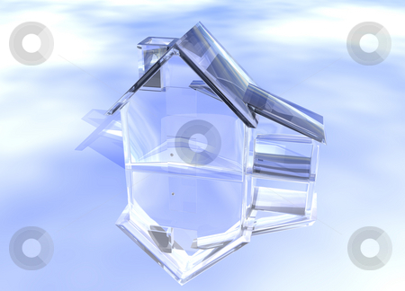 Luxury Clear Glass Diamond House  stock photo, Luxury Clear Glass Diamond House Model on Blue-Sky Background with Reflection Concept Luxurious and Expensive Expense by Robert Davies
