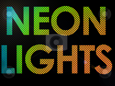 Neon Lights Sign Lit with Leds in a funky style stock photo, Neon Lights Sign Lit with Leds in a funky style by Robert Davies
