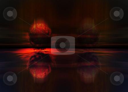 Meteor or Comet Fireball Crashing stock photo, Meteor or Comet Fireball Crashing into Planet Earth Landscape by Robert Davies