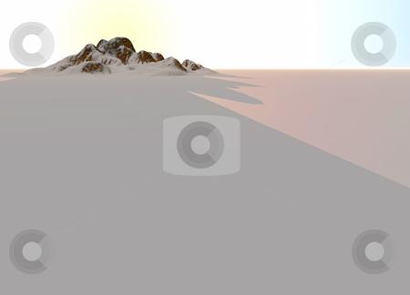 Snowy Landscape with Rocky Mountain in Far Distance stock photo, Snowy Landscape with Rocky Mountain in Far Distance on Horizon by Robert Davies