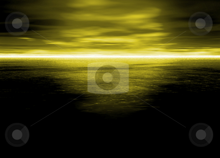 Beautiful Bright Electric Yellow Distant Horizon at Night  stock photo, Beautiful Bright Electric Yellow Distant Horizon at Night by Robert Davies
