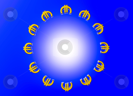 Gold EU Euro Currency Symbols in Circle Formation stock photo, Gold EU Euro Currency Symbols in Circle Formation like European Union Flag by Robert Davies