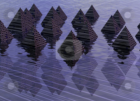 Digital Effect Pyramids with Reflections on Water 3d Rendered Il stock photo, Digital Effect Pyramids with Reflections on Water 3d Rendered Illustration by Robert Davies