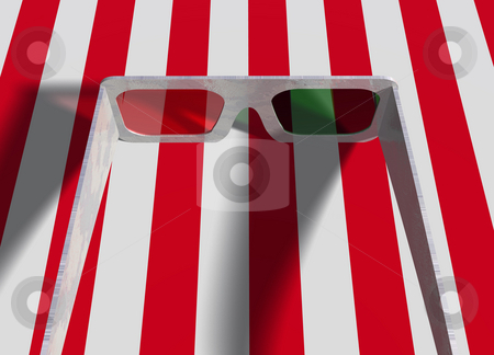 Pair of Plastic 3d Glasses on Red White Striped Surface stock photo, Pair Set of Plastic of 3d Movie Glasses on Red White Striped Surface by Robert Davies