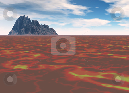 Distant Black Mountain On Lava Flow stock photo, Distant Black Mountain On Red Firey Lava Flow by Robert Davies