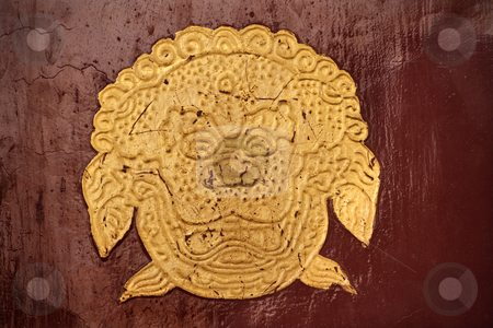 Gold Dragon Symbol Red Door Summer Palace Beijing China stock photo, Gold Dragon Symbol Red Door Summer Palace Beijing China by William Perry