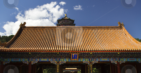Front Gate Tower of the Fragrance of the Buddha Summer Palace Be stock photo, Front Gate Tower of the Fragrance of the Buddha Blue Skies Summer Palace Beijing China by William Perry