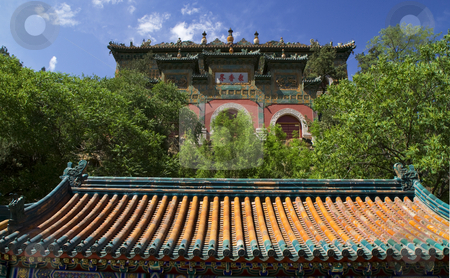 Gate Longevity Hill Summer Palace Beijing China stock photo, Gate Longevity Hill Summer Palace Beijing China by William Perry