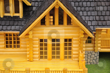 Glass door stock photo, Detail of house wood model.. by Patrik Ruzic