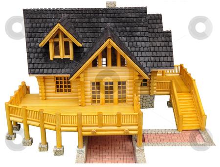 Wood model of house stock photo, Detail of house wood model.. by Patrik Ruzic
