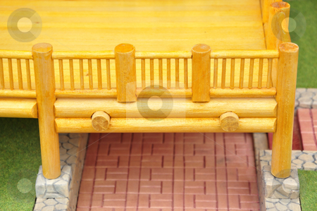 Detail of wood balcony stock photo, Detail of house wood model.. by Patrik Ruzic