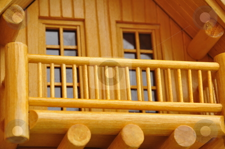 Railing model from wood stock photo, Detail of house wood model.. by Patrik Ruzic