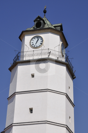 CLOCK ON TOWER  stock photo, Clock on tower in Trencin square by Patrik Ruzic