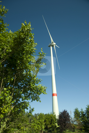 Windmill stock photo, Contraction side and windmill on a beautiful summer day by Wolfgang Zintl