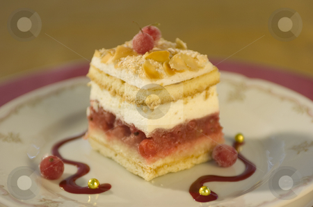 Little cakes stock photo, Little cakes on decorated plate by Andreas Brenner