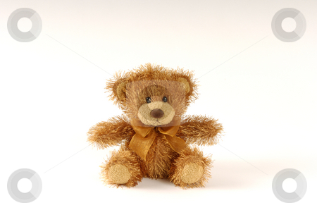 Teddy bear stock photo, Brown furry teddy bear white background by Andreas Brenner