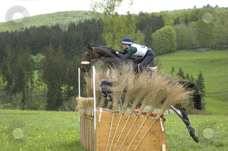 Eventing stock photo, Francesca Simoncini jumping over obstacle by Andreas Brenner