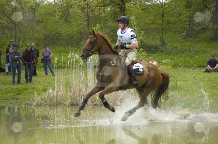 Eventing stock photo, Frank Osthold crossing water by Andreas Brenner