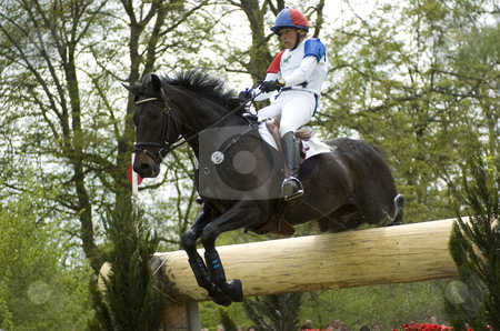 Eventing stock photo, Ingrid Klimke jumping obstacle by Andreas Brenner