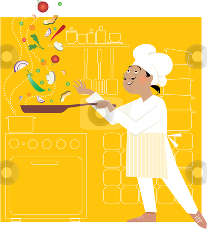 Chef in the kitchen stock vector clipart, Chef fryies vegetables juggling them, kitchen in the backgroung by Vanda Grigorovic