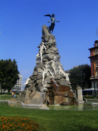 Fountain in Statuto Square in Turin, Italy stock photo, Fountain with bronze figures in Statuto Square, Turin, Italy by Alessandro Rizzolli