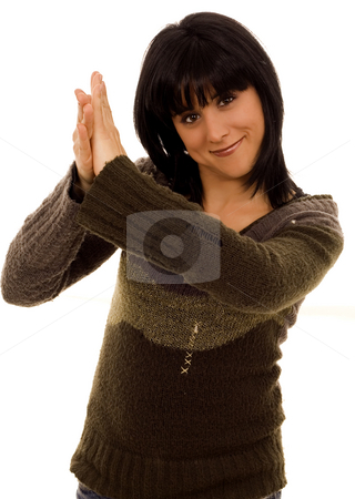 Clap stock photo, Beautiful young woman clapping hands white isolate by Marc Torrell