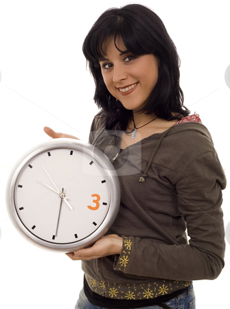 Clock stock photo, Woman with clck white isolate portrait by Marc Torrell