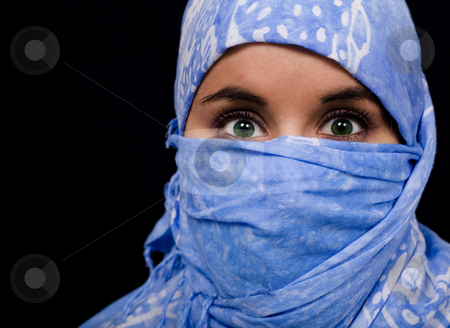 Beautiful eyes girl stock photo, Beautiful young woman coated by scarf by Marc Torrell
