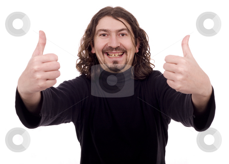 Casual ok man stock photo, Man white isolate with ok sign on both hands by Marc Torrell