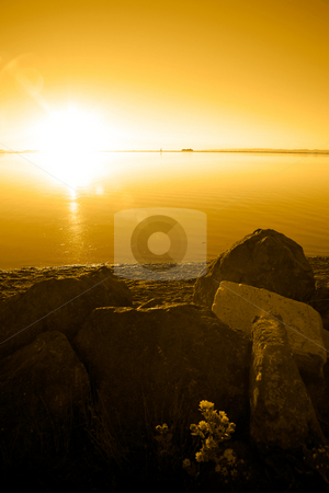 Pacific Northwest Sunset stock photo, Sunset at Cline Spit in Sequim Washington. by Travis Manley