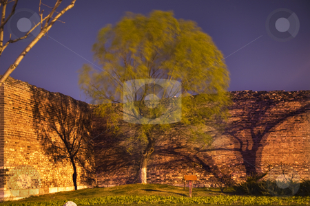 City Wall Park with Green Willow and Shadows Beijing China  stock photo, Night Shot City Wall Park Beijing, China with green willow and shadows  This is the city wall park with the original wall that surrounded the old city of Beijing. by William Perry