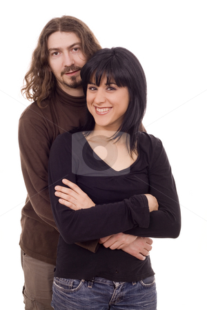 Couple stock photo, Young casual beautiful couple white isolate portrait by Marc Torrell
