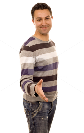 Man stock photo, Shaking hand casual man white isolate by Marc Torrell