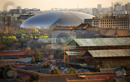 Big Egg Silver Concert Hall Close Up Beijing China stock photo, Big Silver Egg Concert Hall Close Up Beijing China Forbidden City in Foreground