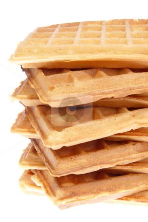 Belgian wafer stock photo, Pile baked waffles isolated on white background by Jolanta Dabrowska