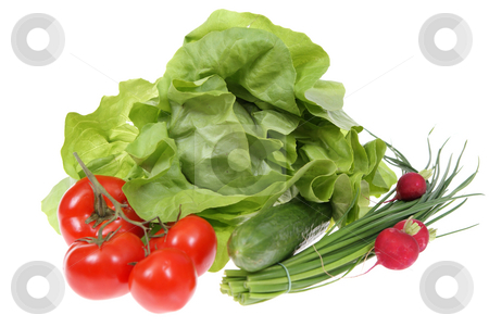 Vegetables stock photo, Spring vegetables lying  by sideon white background by Jolanta Dabrowska
