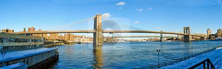 Brooklyn Bridge Panorama stock photo, Panorama of the Brooklyn Bridge from the South, New York, NY by Thomas Marchessault