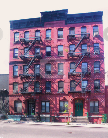 New York Walkup Vertical Panorama stock photo, Brick Walk-up tenement building, Manhattan, New York by Thomas Marchessault