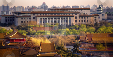 Great Hall of the People with Forbidden City in Foreground Beiji stock photo, Great Hall of the People, Forbidden City, Beijing, China