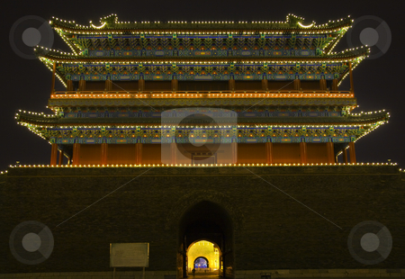 Qianmen Gate Zhengyang Men Tiananmen Square Beijing China Night stock photo, Qianmen Gate Zhengyang Men Looking at Arrow Tower Tiananmen Square Beijing, China Night Shot by William Perry