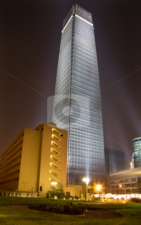 Guomao Large Skyscraper Beijing China Night stock photo, Guomao Business District Large Skyscraper Largest Building Beijing, China Night Shot by William Perry