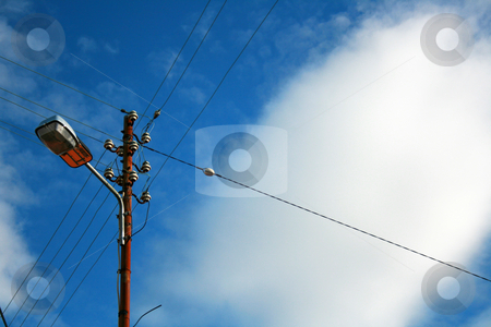 LAMPPOST stock photo, Lamppost and cloudy skies by Marc Torrell