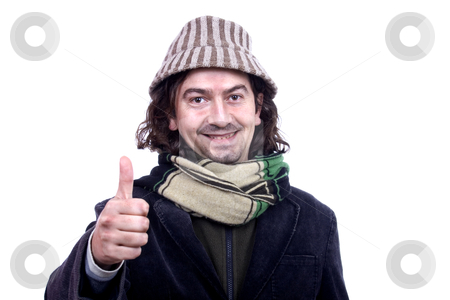 Man with thumbs up stock photo, Young man waiting isolate by Marc Torrell