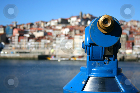 Porto telescope stock photo, Porto views trough a blue telescope by Marc Torrell