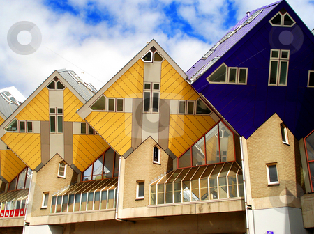 Rotterdam rombic houses  stock photo, Yellow and blue houses in rotterdam by Marc Torrell