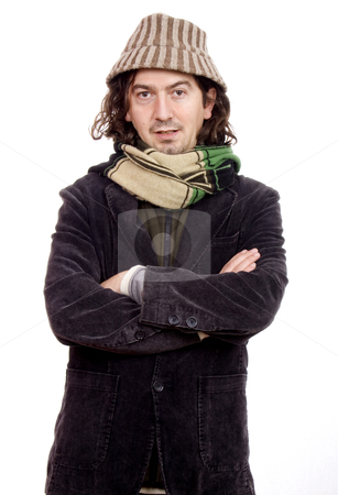 Man with arms crossed stock photo, Young man waiting isolate by Marc Torrell